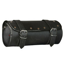 Motorcycle Cruiser Biker Leather Tool Bag Pouch Roll Barrel Shape Handlebar Bag