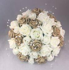 ARTIFICIAL IVORY BEIGE FOAM ROSE BRIDE WEDDING FLOWERS BOUQUET POSIE CRYSTAL