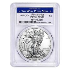 2017-W 1 oz Silver American Eagle $1 Coin Pcgs Ms 70 First Strike (West Point)