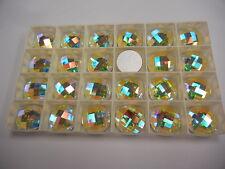 4 swarovski round checkboard flatbacks,18mm crystal AB/foiled #2014