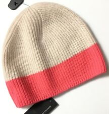 M&S Marks Autograph Luxe Oatmeal Colour Block Pure Cashmere Soft Beanie Hat BNWT