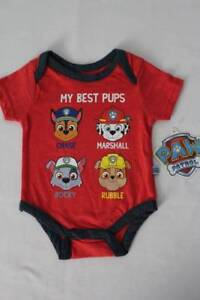 NEW Baby Boys Paw Patrol Bodysuit 0 - 3 Months Creeper Outfit Red One Piece Dogs