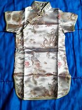Chinese girl dress (gold with dragon & phenix theme, size 2, silk/satin)