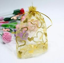 25 pcs Luxury Jewellery Pouches Packing Organza Gift Bags Wedding 7X9cm ( Gold )