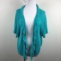 Chicos Size 3 Cardigan Sweater Blue Aqua Open Front Ruffle Short Sleeve Rayon