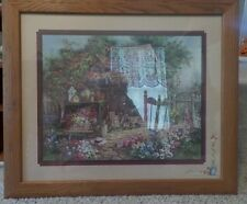 """Home Interiors wall Picture Size 28x24"""", EC<Log Home with Flowers, etc."""