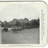 Drottningholm Palace Sweden with Horse and Carriages, circa 1900 Stereoview Card