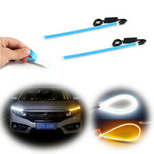 "18"" Universal White DRL LED Amber Sequential Flash Lights Strips For Headlights"
