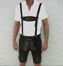 neu bayrische Trachtenlederhose Lederhose kurz Hosenträger Stickerei Pulsz