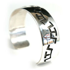 Silver Cuff Bracelet Mens Native American Overlaid Navajo Indian Jewelry Large