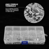 700Pcs 10-22AWG Copper Ferrule Non-Insulated Wire Strip Pin Assortment Kit inm