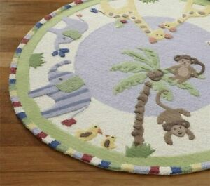 Jungle Forest 5' x 5' Round Handmade Kids Style Woolen Area Rugs & Carpets