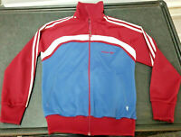 Vintage 70s 80s Adidas Three Stripes Trefoil Zip Up Jacket Sz Small Maroon Blue