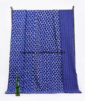 Indigo Blue Queen Kantha Quilt Indian Bedspread Blanket Throw Ralli Ethnic Decor
