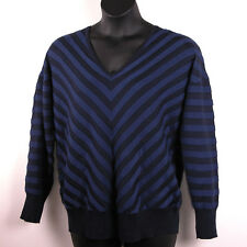 Lane Bryant Womens Sweater 18/20 Double V-Neck Chevron Stripe Blue Mitered New