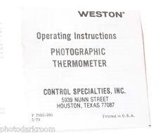 Weston Photographic Thermometer Instruction Manual Book - English - USED B12
