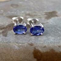 1Ct Round Cut Tanzanite 14K White Gold Over Women's Exclusive Stud Earrings