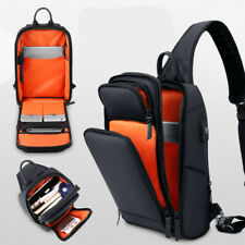 Men Canvas Sling Bag Chest Crossbody Messenger Shoulder Travel Black Sports Bags