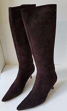 Jimmy Choo brown suede kitten heel tall boot w/ pointed toe 39