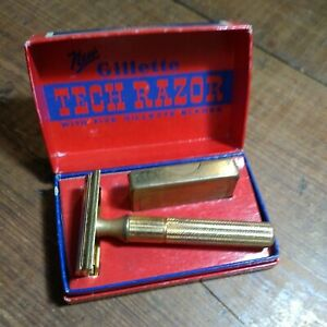 VINTAGE GILLETTE TECH RAZOR IN GOOD USED CONDITION ORIGINAL BOX WITH BLADE CASE