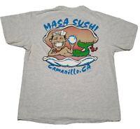 Vintage 90s Sushi T-Shirt Single Stitch HANES 50/50 THIN Sz Large
