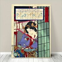 "Beautiful Japanese GEISHA Art ~ CANVAS PRINT 36x24"" Kuniyoshi-Screen"