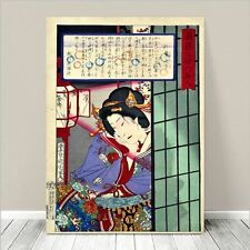 "Beautiful Japanese GEISHA Art ~ CANVAS PRINT 36x24"" Kuniyoshi-Screen"
