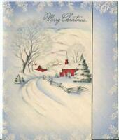 VINTAGE CHRISTMAS WHITE BLUE SNOW WINTER PINK RED HOUSE CHURCH  GREETING CARD