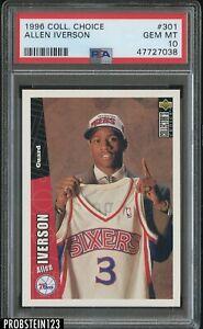 1996-97 UD Collector's Choice #301 Allen Iverson 76ers RC Rookie PSA 10 GEM MINT