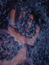 "Semi sheer blue slip curly swirl ribbon decoration 29""-56"" waist sissy-XXL"