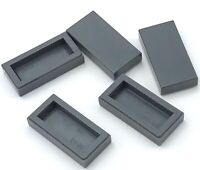 Lego 5 New Dark Bluish Gray Tiles 1 x 2 with Groove Flat Smooth Pieces