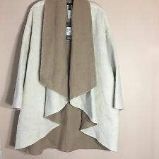 Eileen Fisher $558 NWT Double Face Alpaca Blend Poncho Coat Beige and  Brown L