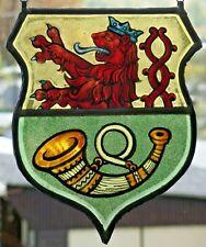 """Bleiverglasung Fensterbild alte Glasmalerei """"Löwen- Jagdhorn- Wappen"""""""