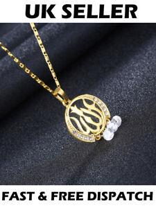 Gold Muslim Allah Arabic Islamic Round Necklace Jewellery God Gift Pendant Chain