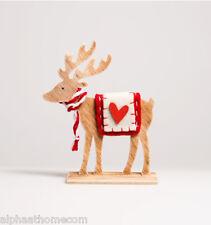 Folksy Standing Christmas Festive Wooden Reindeer with Heart, Sass & Belle