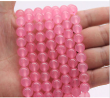 "Bright Candy rose Malay Jade 8mm Smooth Round Quartz Gemstone Beads 15""AAA"