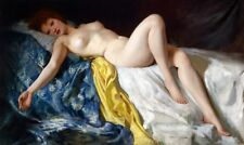 Handmade Oil Painting repro Nude relying on the bed
