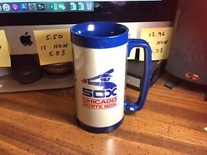 """RARE  👀  Vintage 1970s Thermo-Serv ~ Chicago White Sox Tall Cup ~ 6¼"""" Tall"""