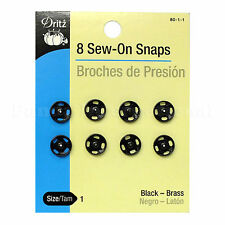 New 8 Sew-On Snaps(Brouches de presión) by Dritz Size 1, Black Brass