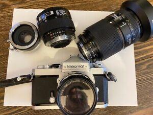 Nikkormat camera and Nikon lenses