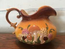 Vintage 1977 Arnel's Ceramic Porcelain Pitcher with Mushrooms Toadstool Design