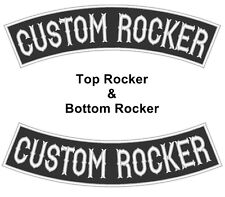 "Custom Embroidery Top & Bottom Rocker Motorcycle Biker Sew on Patch 13"" (B-1)"