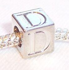 Alphabet Letter D Cube Square Initial Bead fits Silver European Charm Bracelets