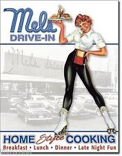 MEL'S DRIVE-IN/ ROCK N ROLL WAITRESS , METAL  WALL SIGN 40X30 CM/ CLASSIC CARS