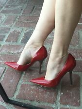 *chERRy ReD Sz 8.5 PaTeNT Leather Pointy Toe CARRIE Stiletto Heels PUMP GuESS