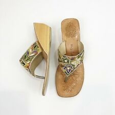 N.Y.L.A. Size 8 Beaded Wooden Wedge Tan Sandals