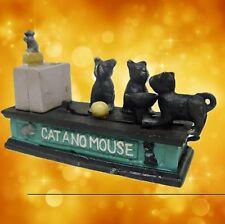 Tirelire chat + souris mécanique de Noël Cadeau vintage deco jouet