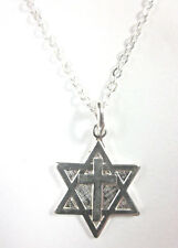"Messianic Silver Plated Small Star of David Cross Pendant Necklace 20"" Chain"