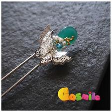 Handmade Butterfly Hair Hairpin Kanzashi Green for Hanfu Kimono Women Girls Sa J