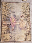 Vintage French Wall Tapestry Hanging - Boy and Girl Fishing 25w x 33 high